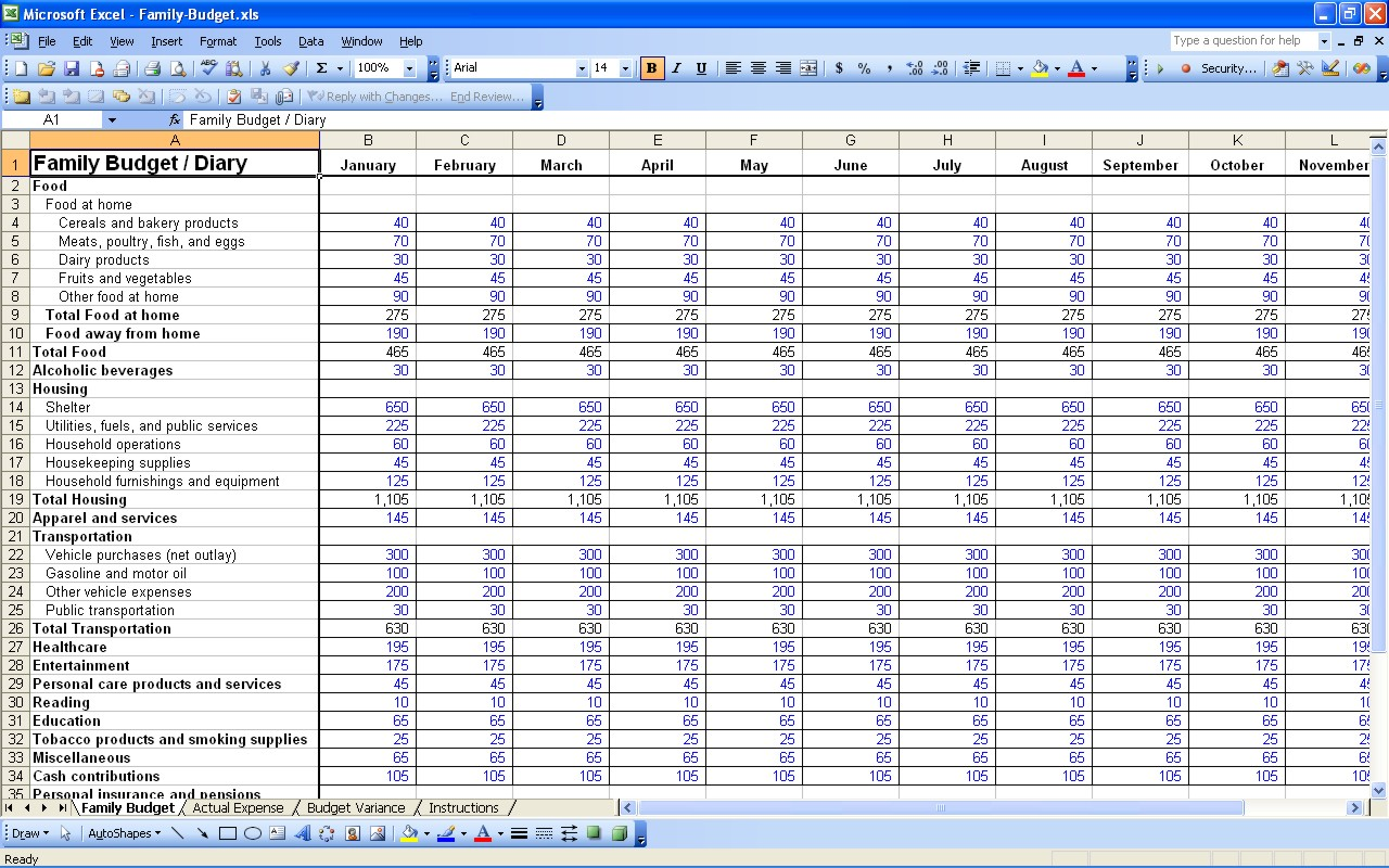 free yearly expenses spreadsheet