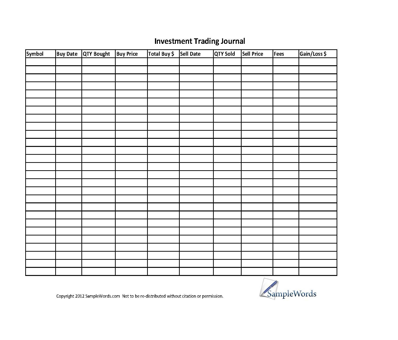 greg thurman's trading journal spreadsheet