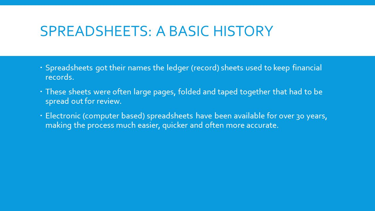 history of excel sheet