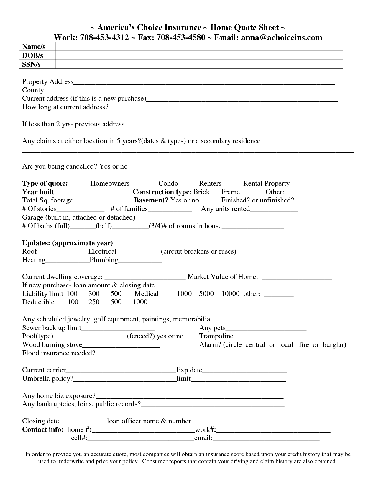 home insurance quote sheet template_3