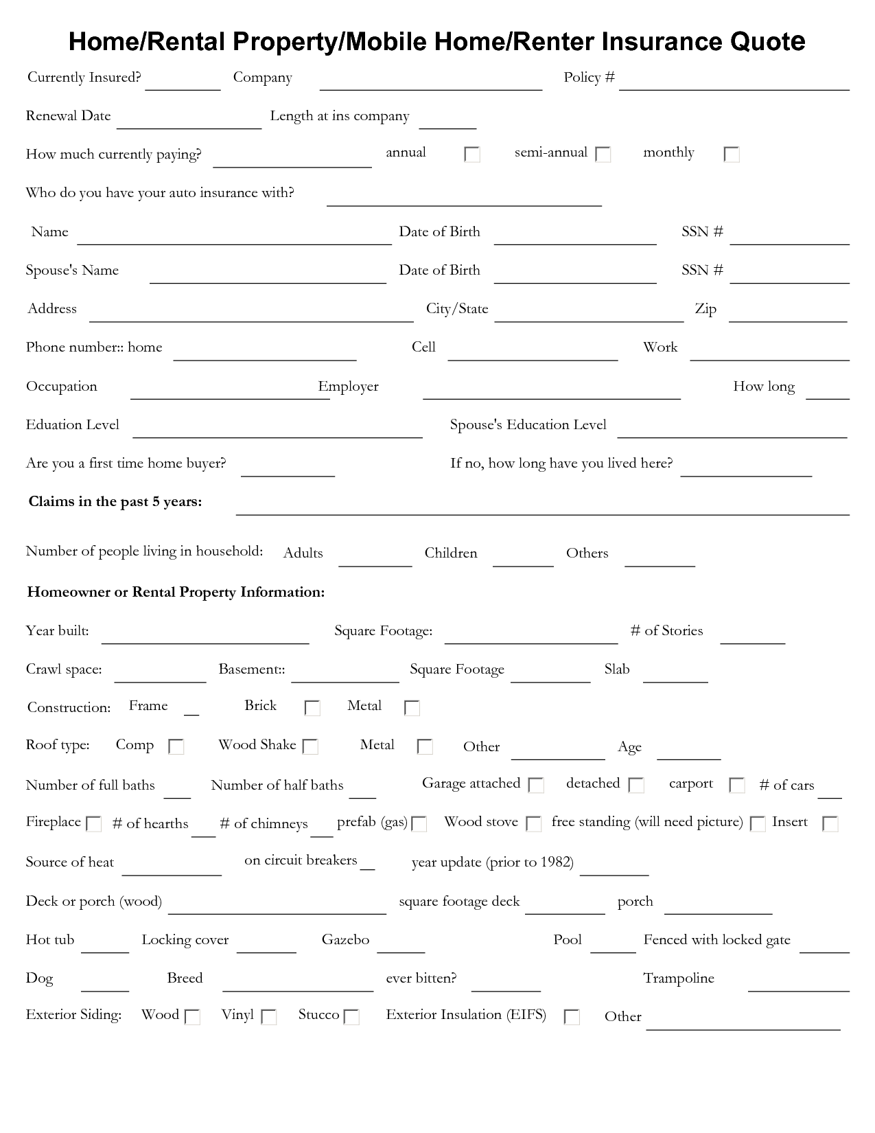 home insurance quote sheet template_4