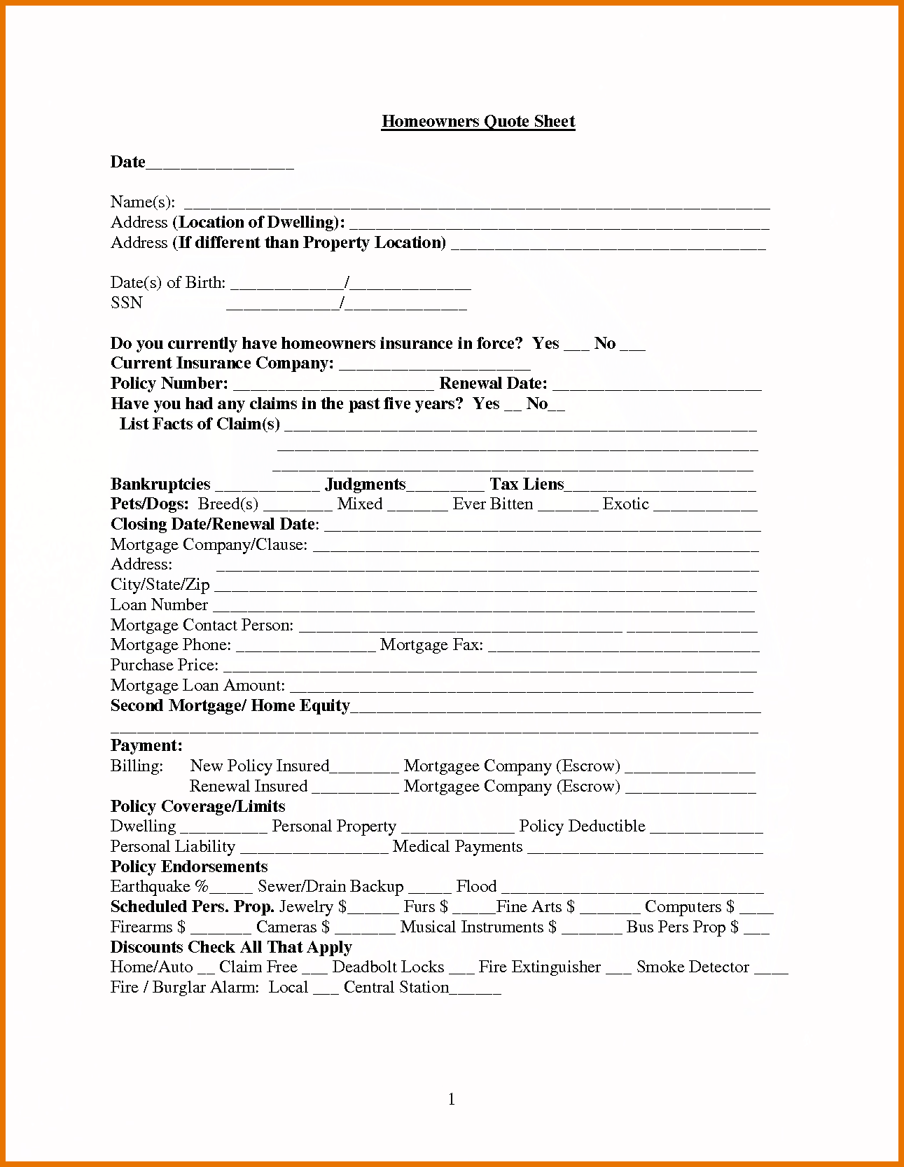 home insurance quote sheet template_8