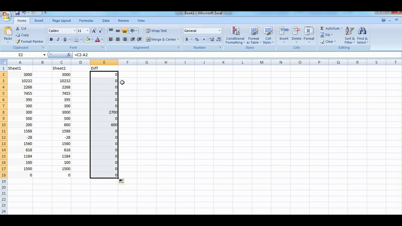 how can i compare data in two excel spreadsheets