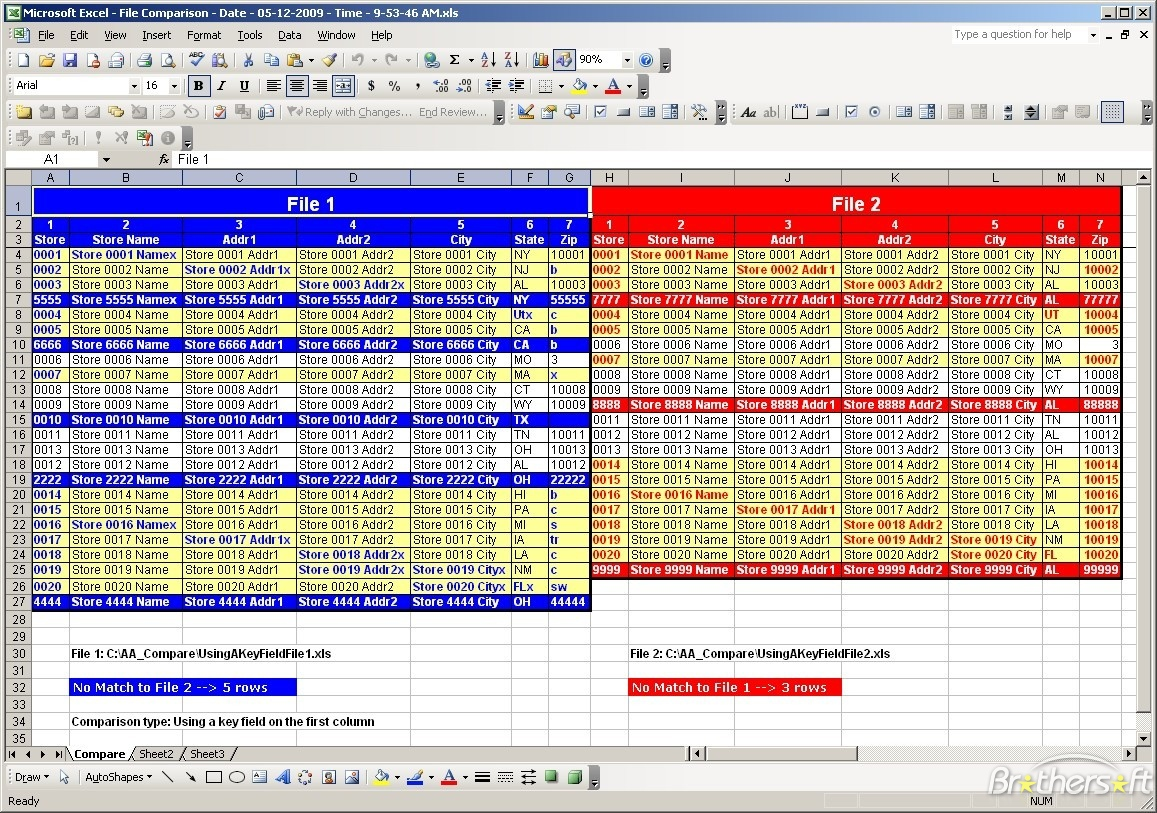 how do i compare two excel spreadsheets for differences