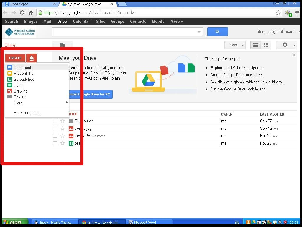 how do i create a spreadsheet in google drive