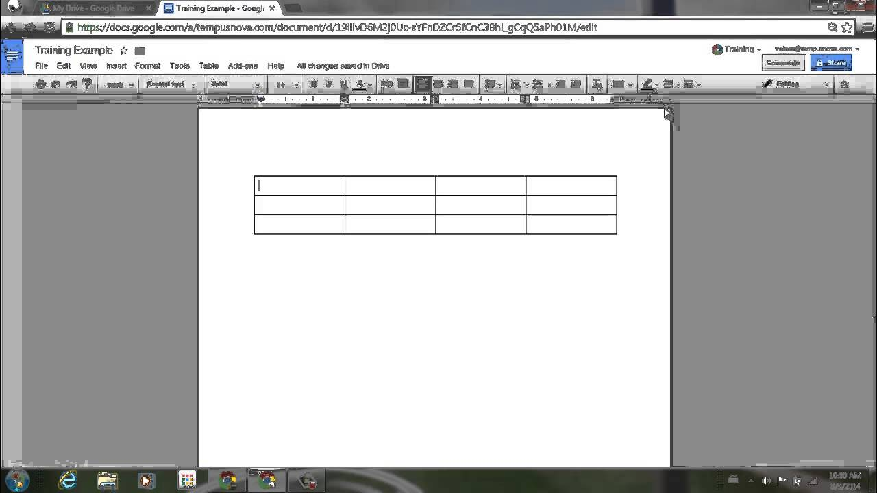 how do you make a table in google docs