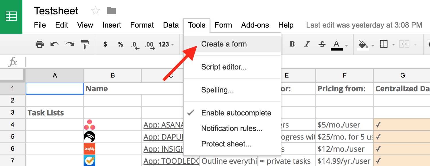 how do you use the sum function in google docs