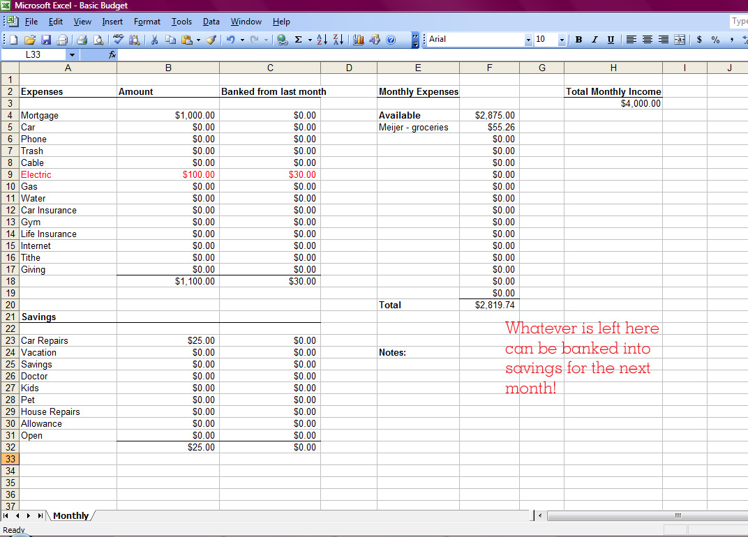 how to create a budget spreadsheet in excel
