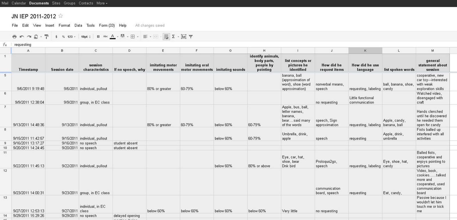 how to create a database in google docs