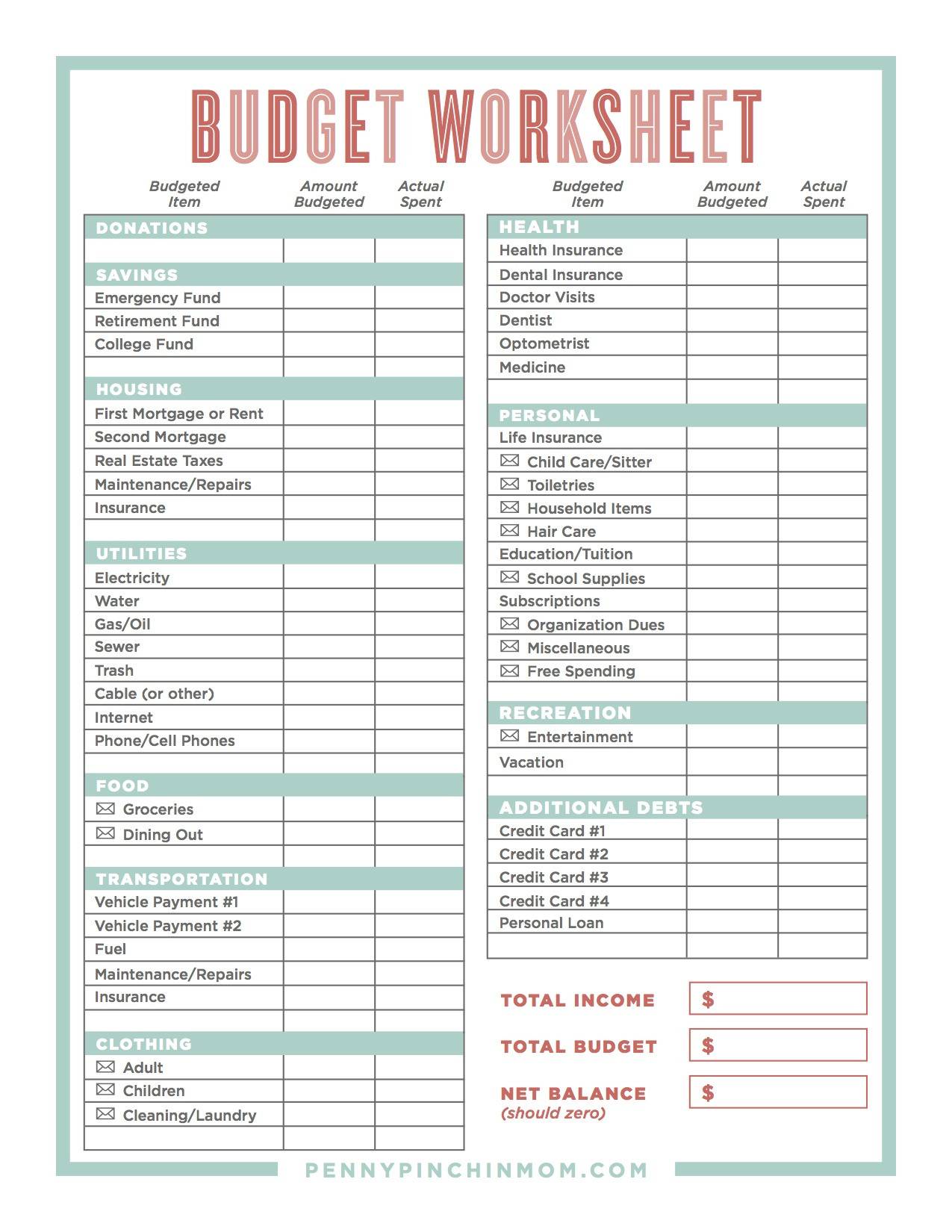 how to create a household budget spreadsheet