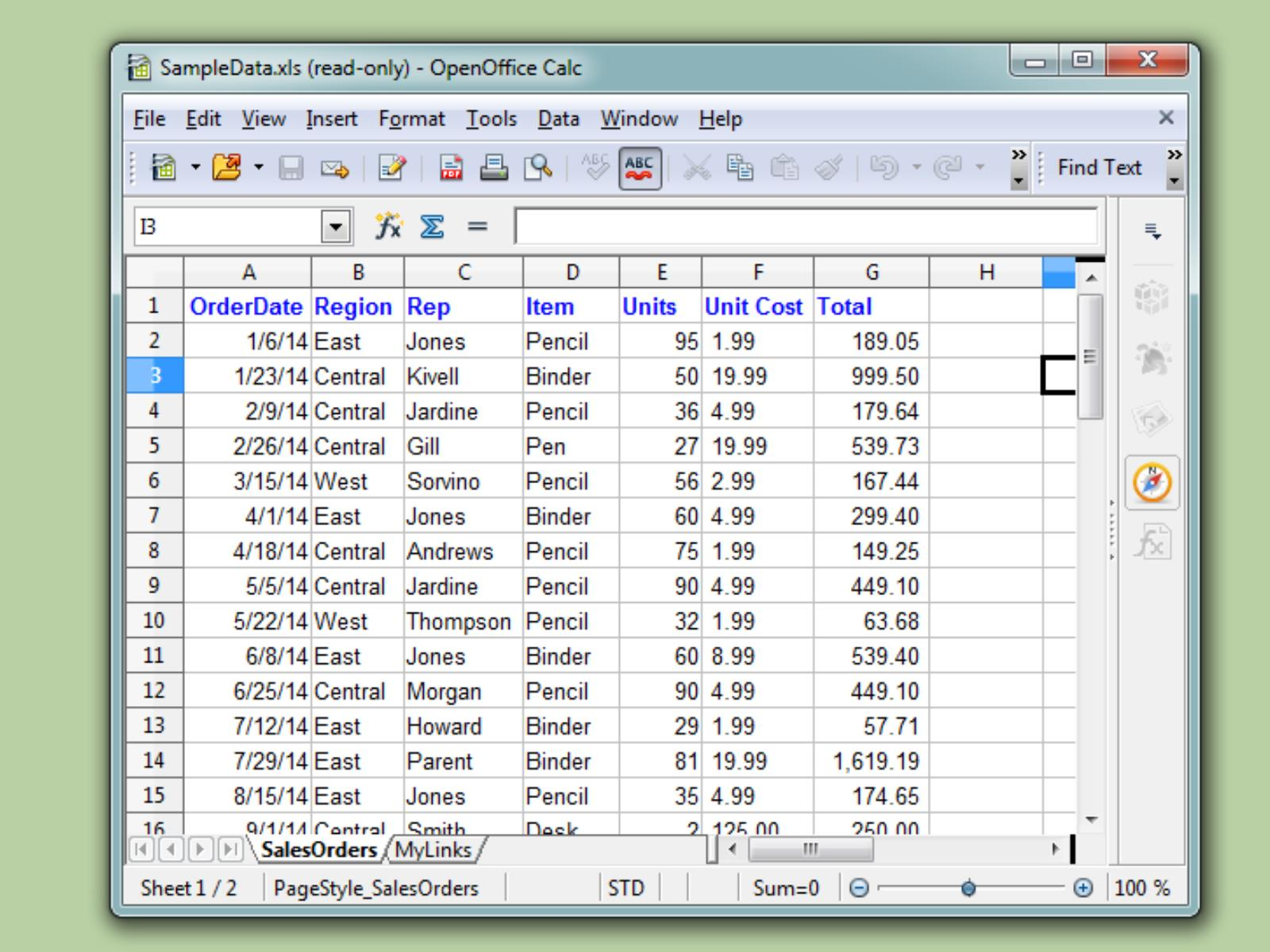 how to create a spreadsheet in excel 2013
