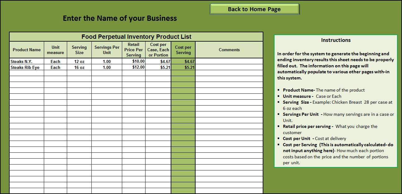 how to create an inventory spreadsheet free