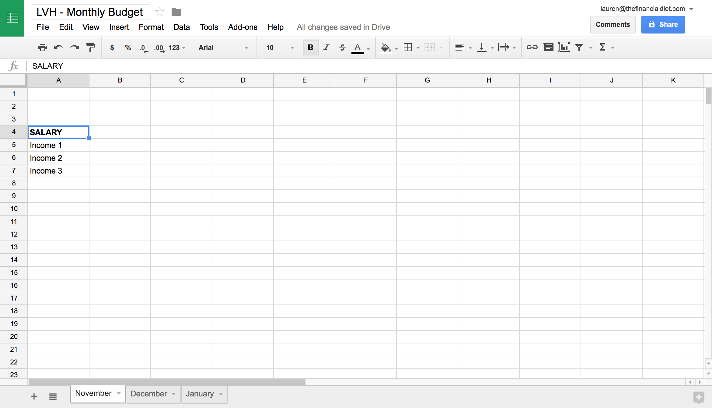 how to make a budget spreadsheet on google docs
