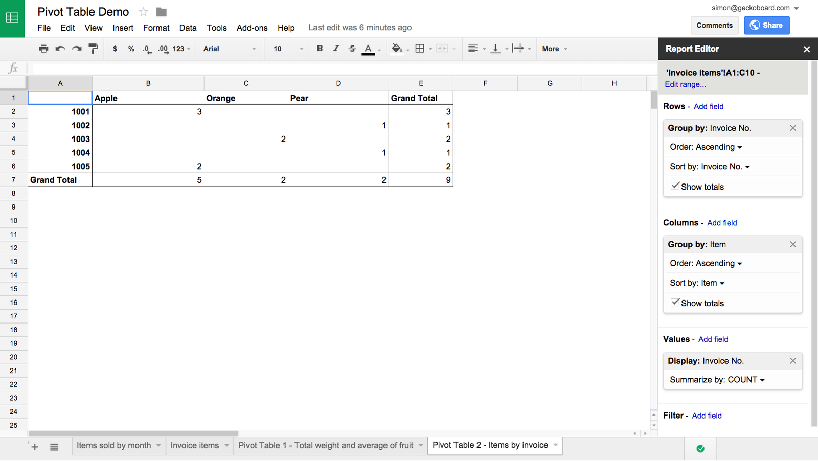 how to make a data table on google docs