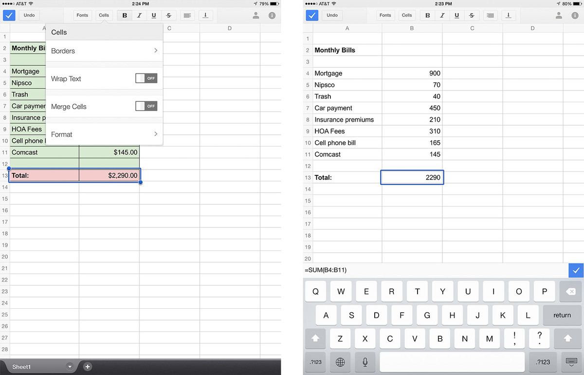 how to make a graph in google sheets ipad