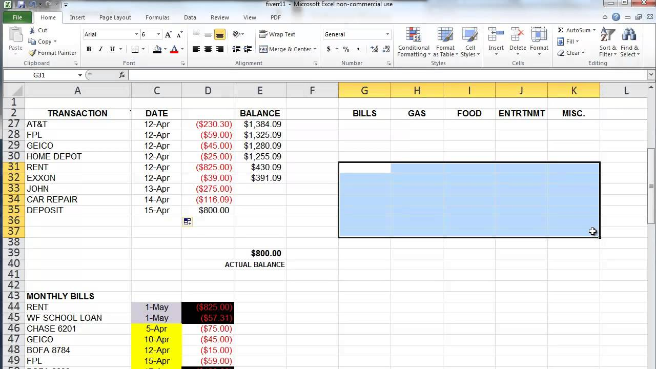 how to make a monthly budget spreadsheet in excel
