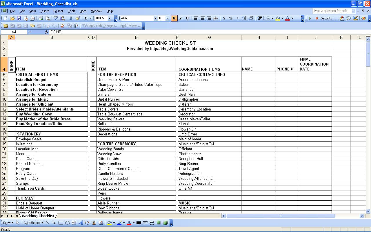 how to make a wedding budget spreadsheet on excel