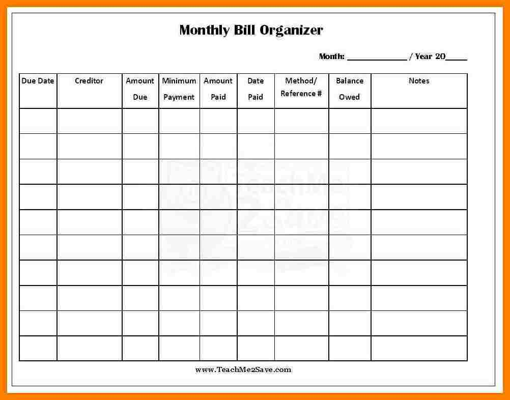 how to make an excel spreadsheet for monthly bills