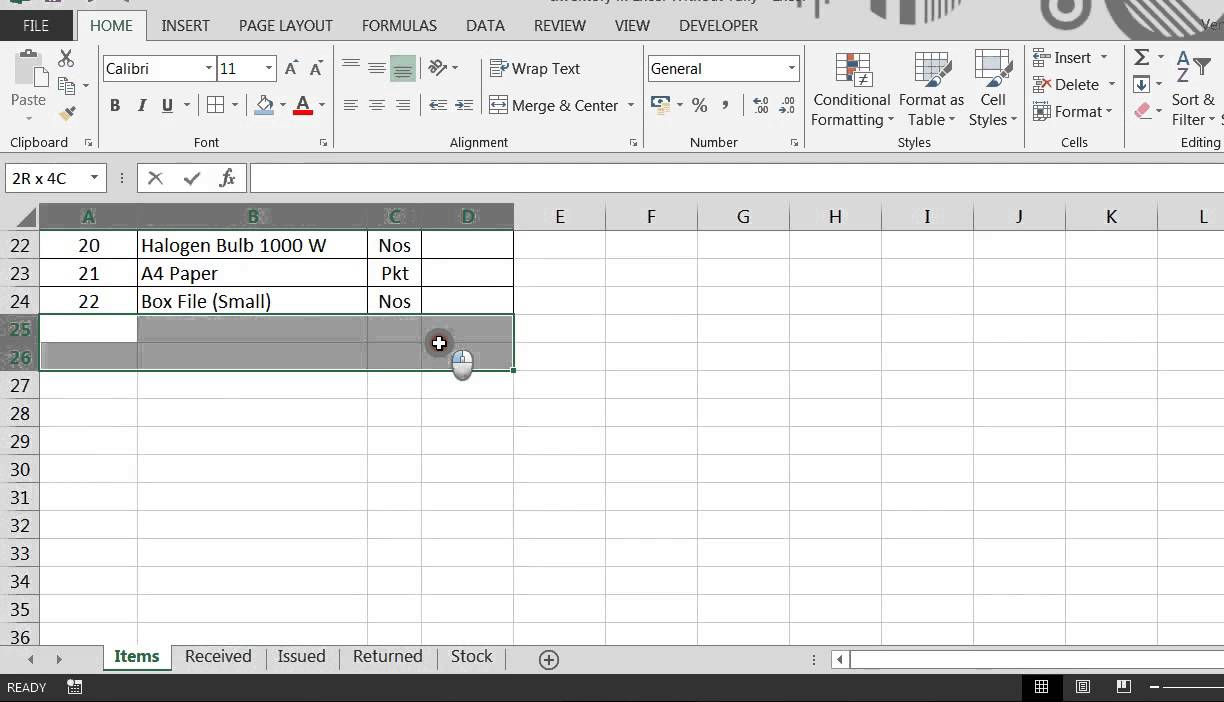 how to make an inventory sheet in excel