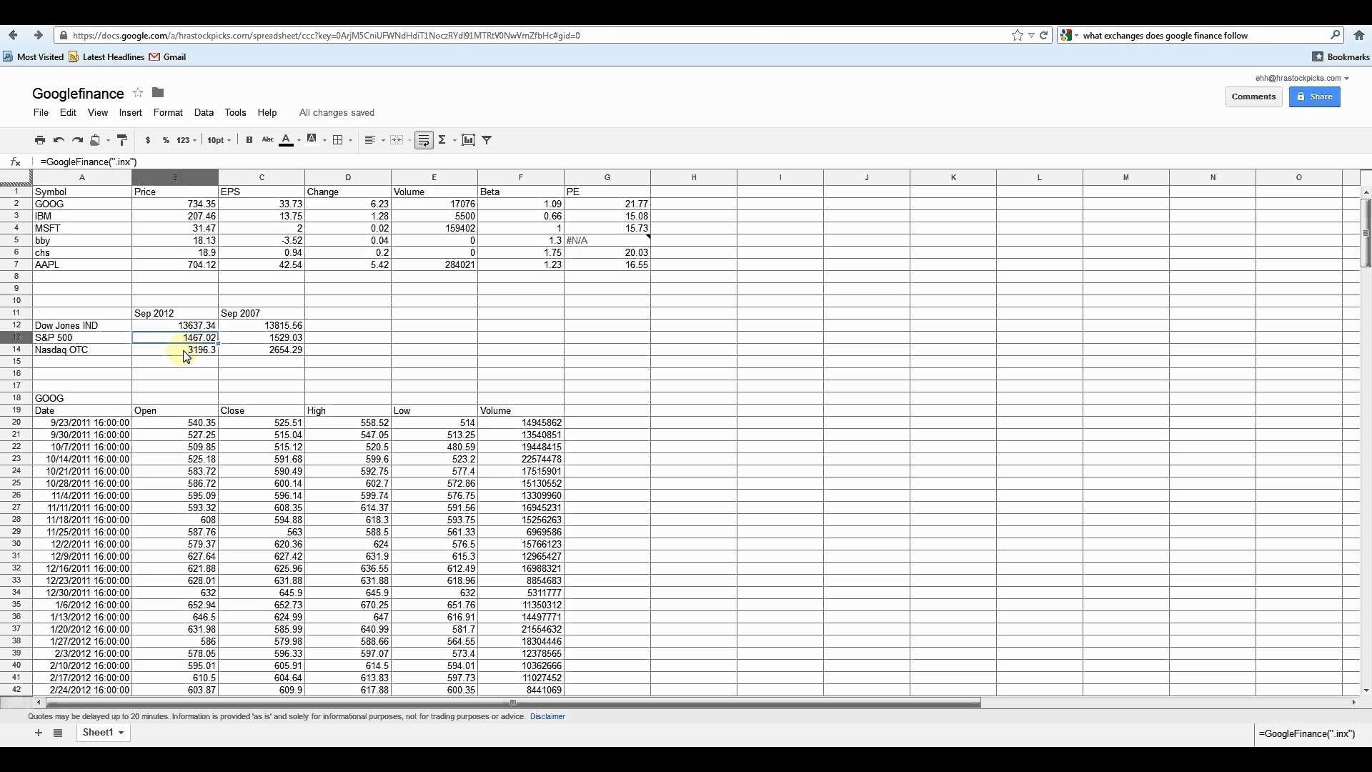 how to use google docs excel