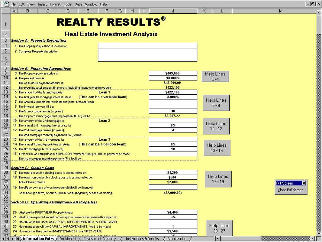 investment property cash flow analysis spreadsheet
