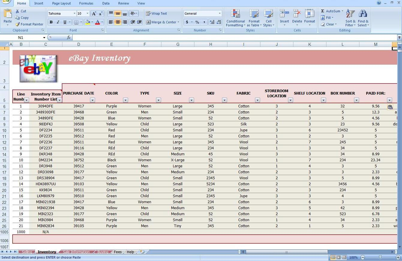 jewelry inventory spreadsheet free templates