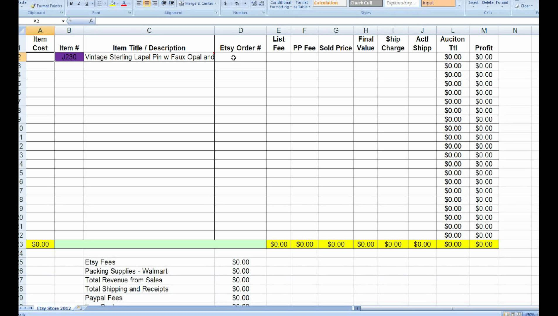 jewelry inventory spreadsheet template free download