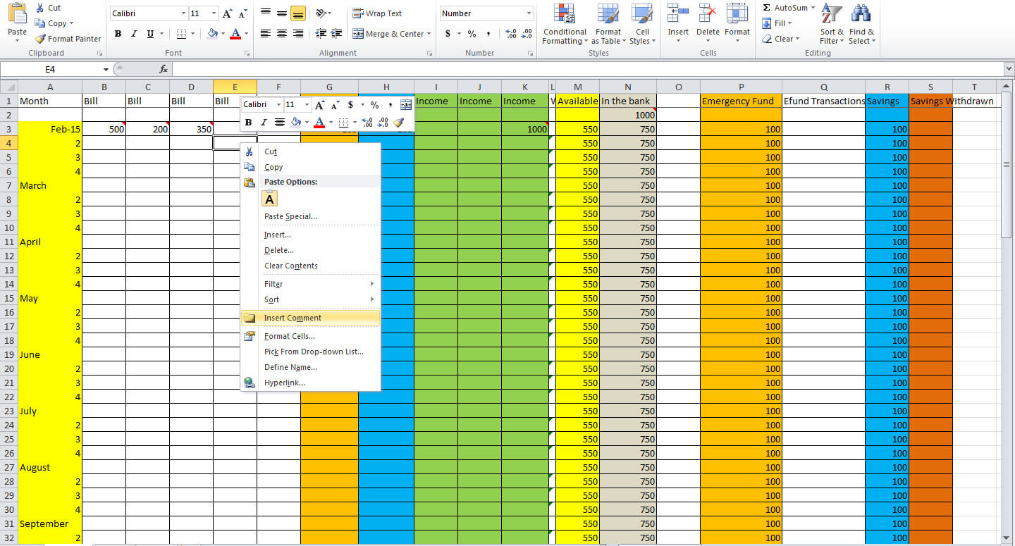 keeping track of finances spreadsheet