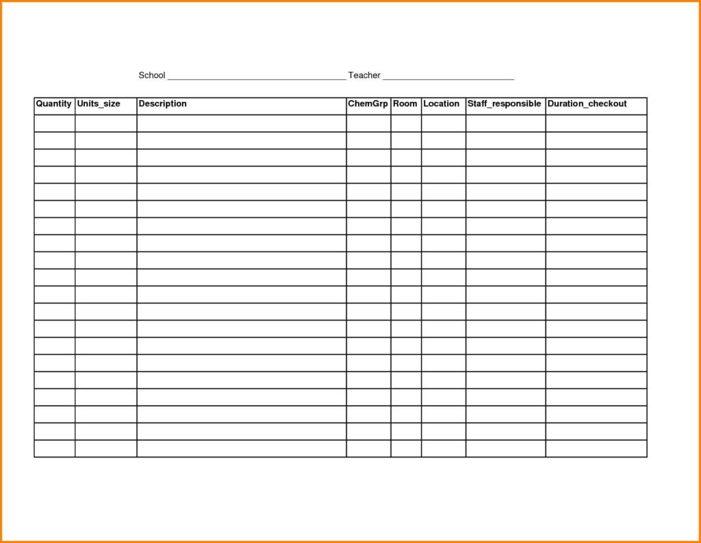 kitchen inventory list template