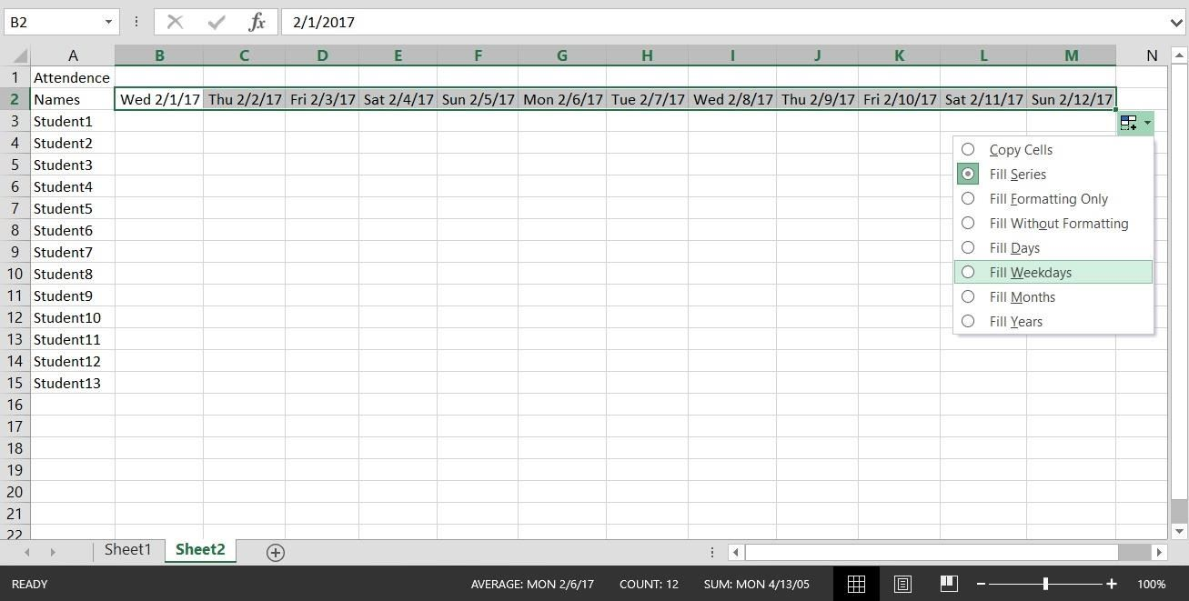 Making an Excel Spreadsheet