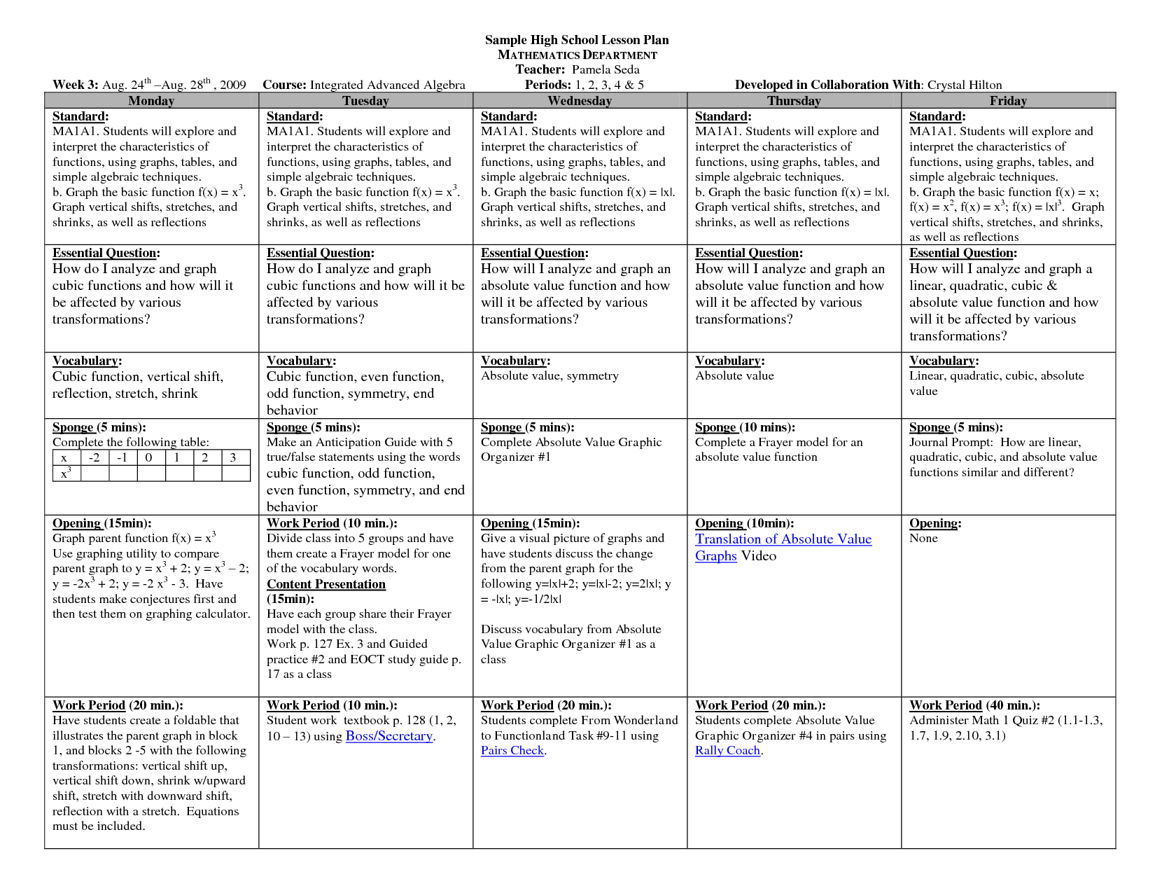 microsoft excel lesson plans