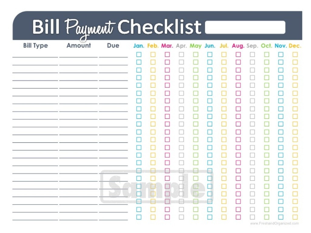 monthly bill spreadsheet printable