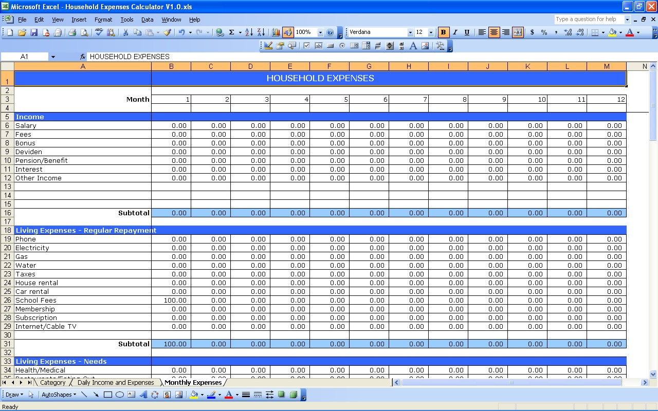 monthly expense and income spreadsheet
