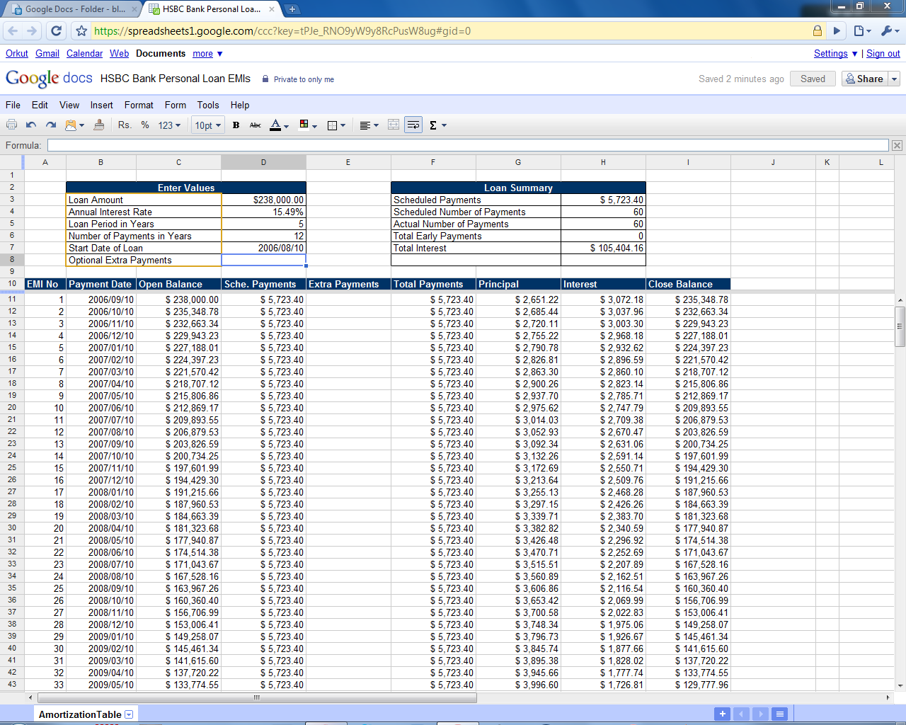 mortgage payment table spreadsheet loan amortization schedule calculator