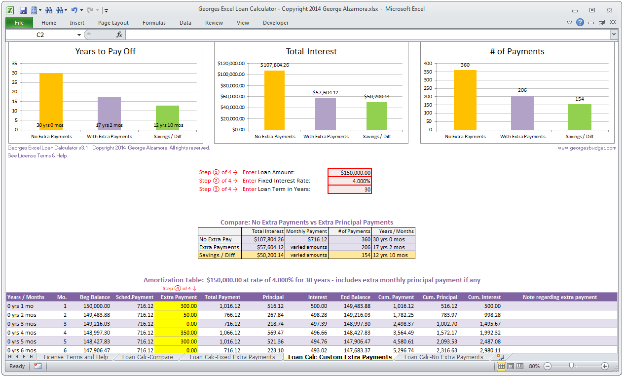 mortgage payment table spreadsheet loan amortization schedule excel with extra payments
