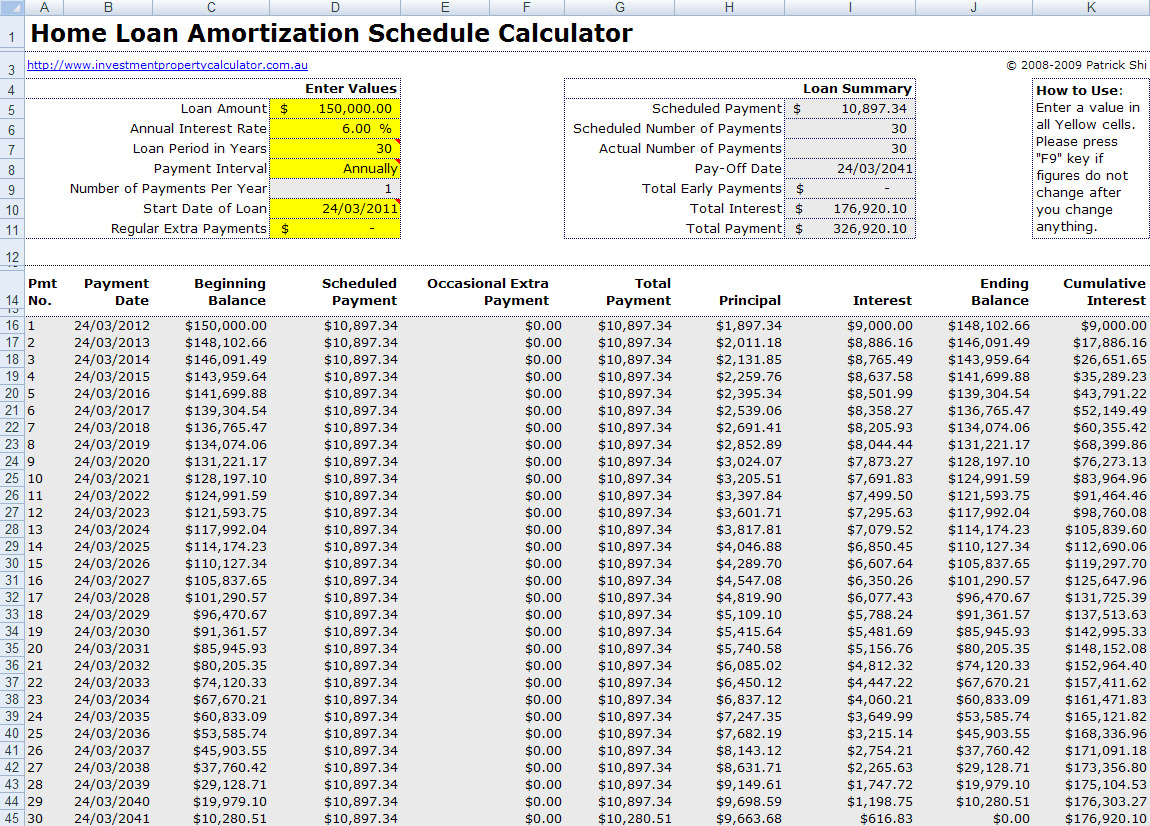 Mortgage Payment Table Spreadsheet