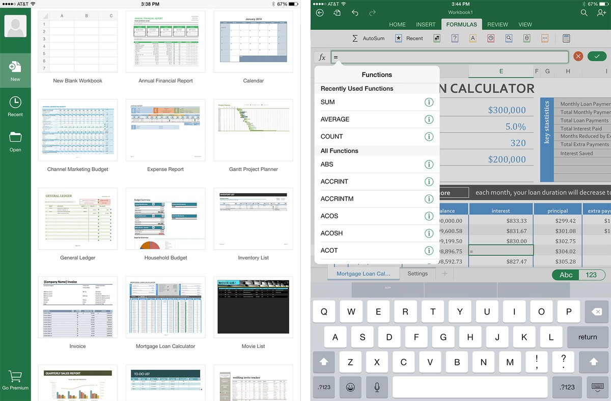 open excel spreadsheet on ipad