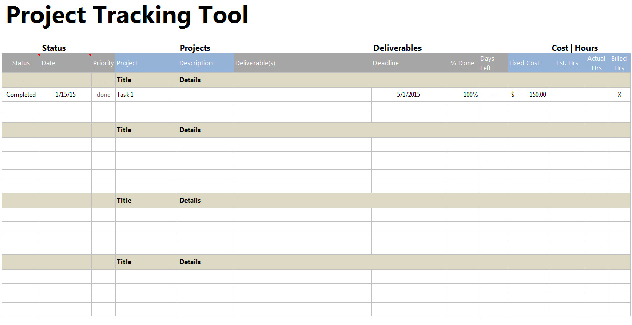 project tracking sheet xls