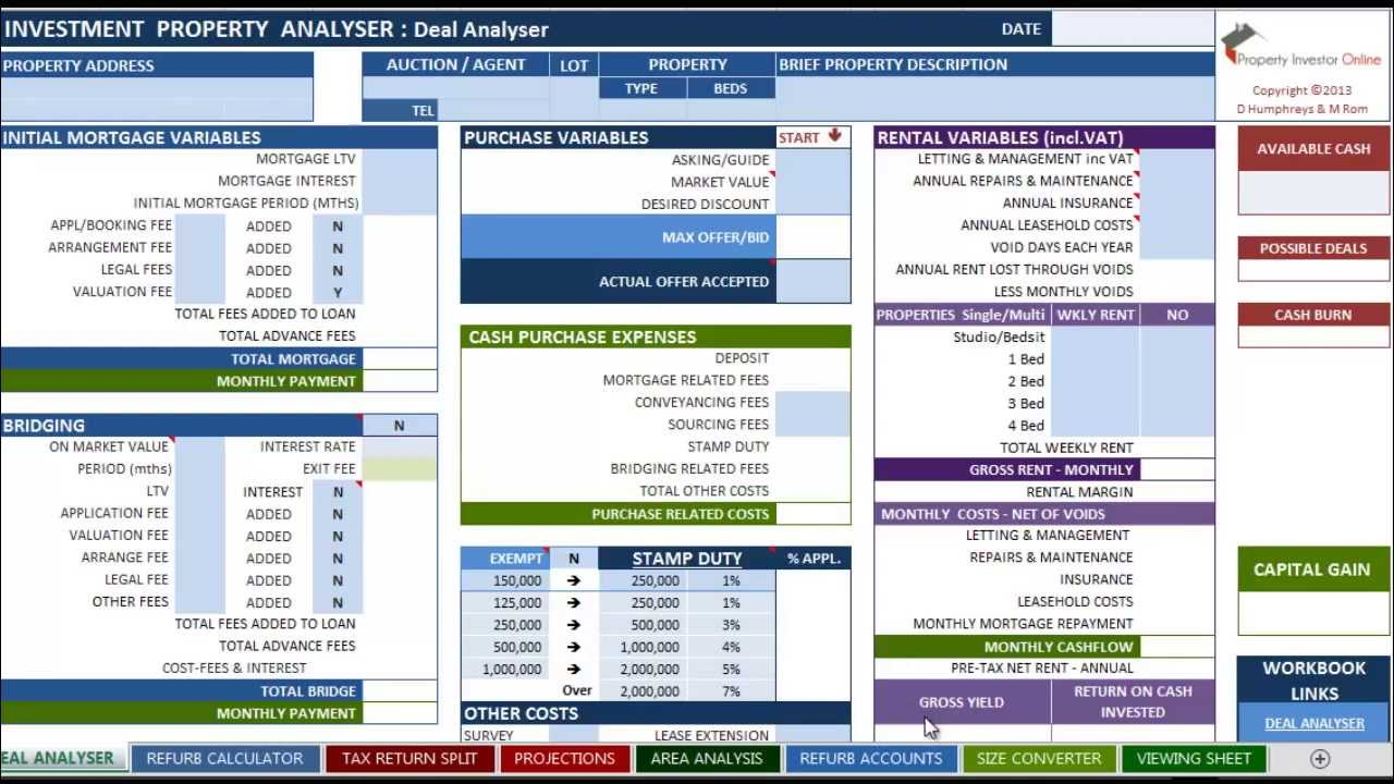 real estate investment calculator spreadsheet