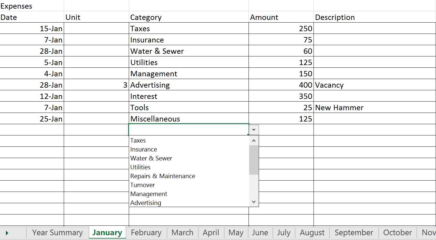 rental property accounting spreadsheet excel
