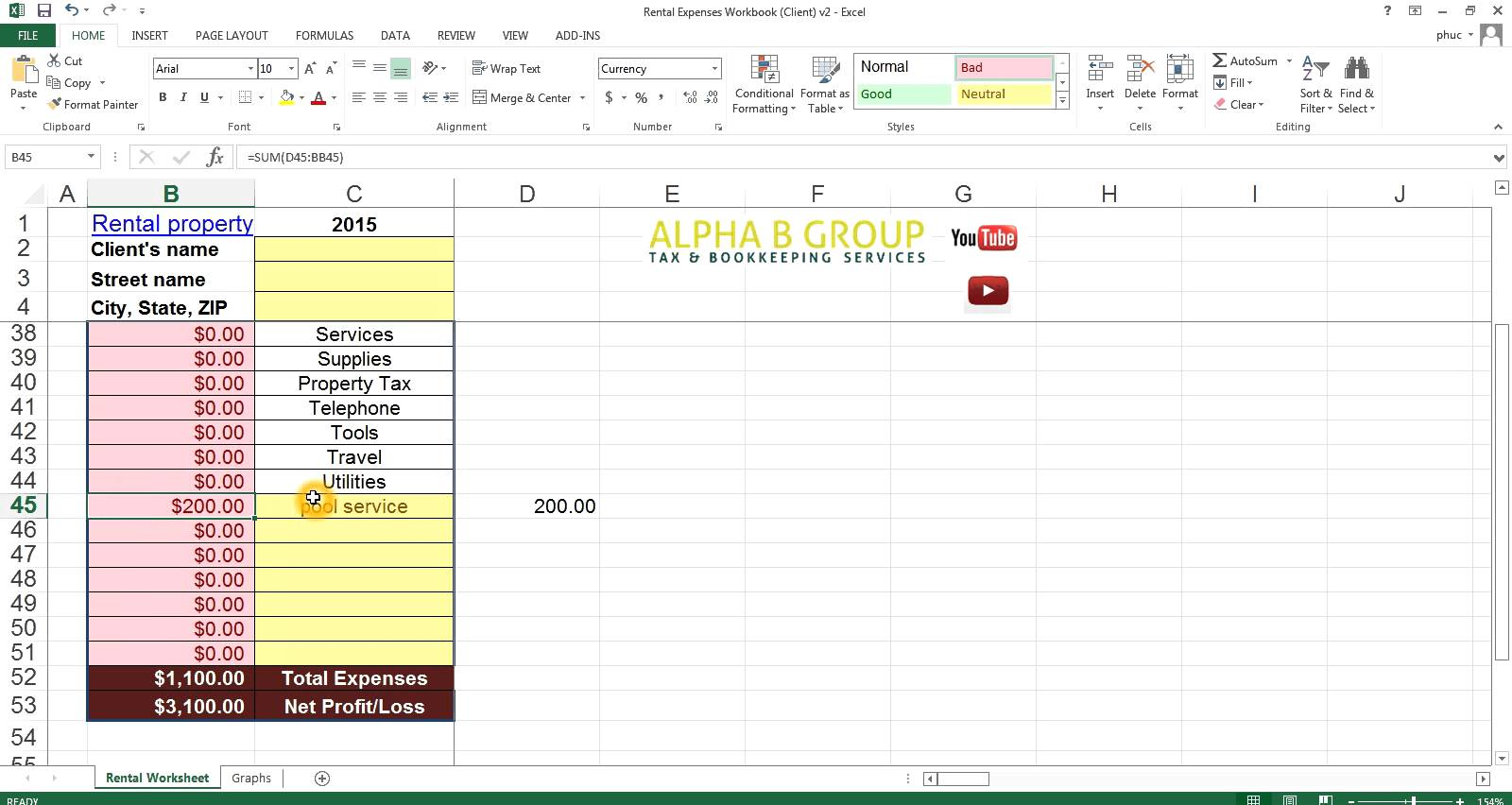 rental property accounting spreadsheet free templates