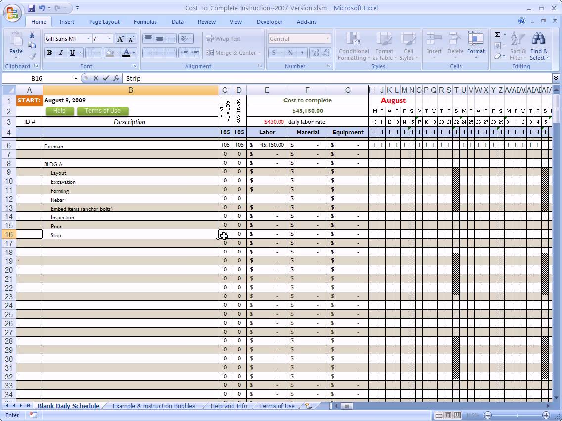 Excel Spreadsheet For Construction Estimating Laobing Kaisuo