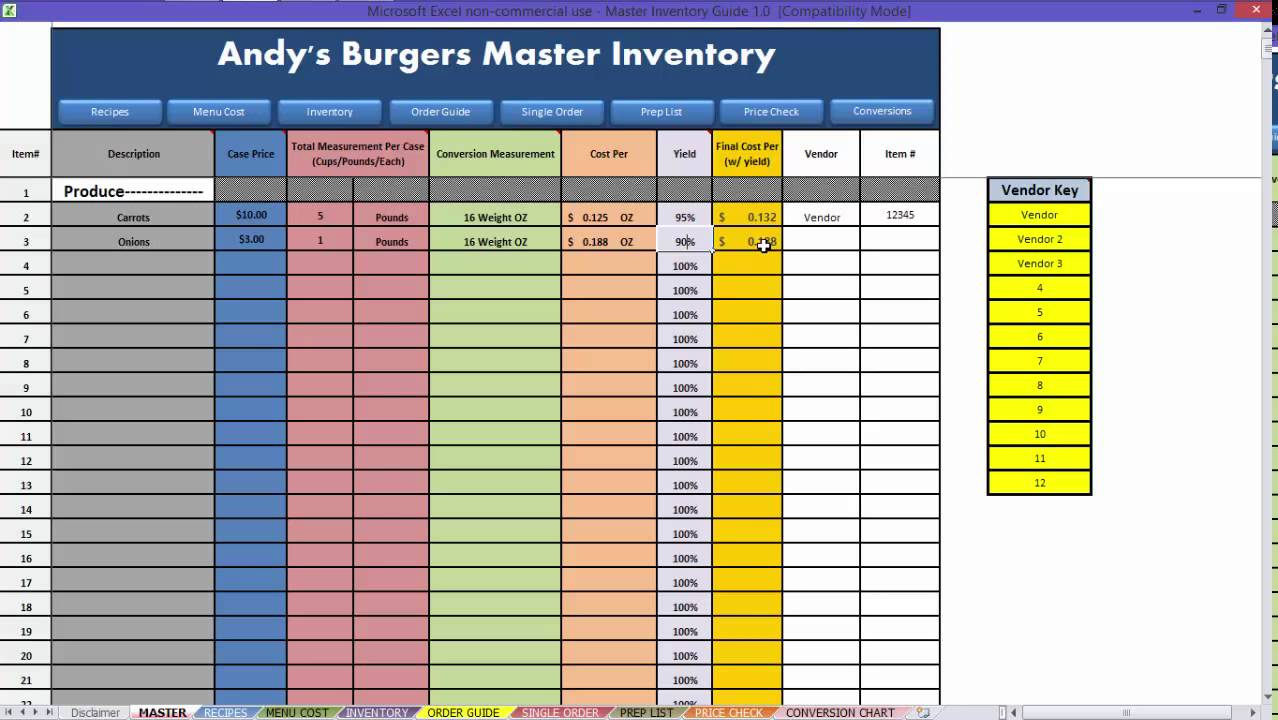 restaurant food cost spreadsheet free download