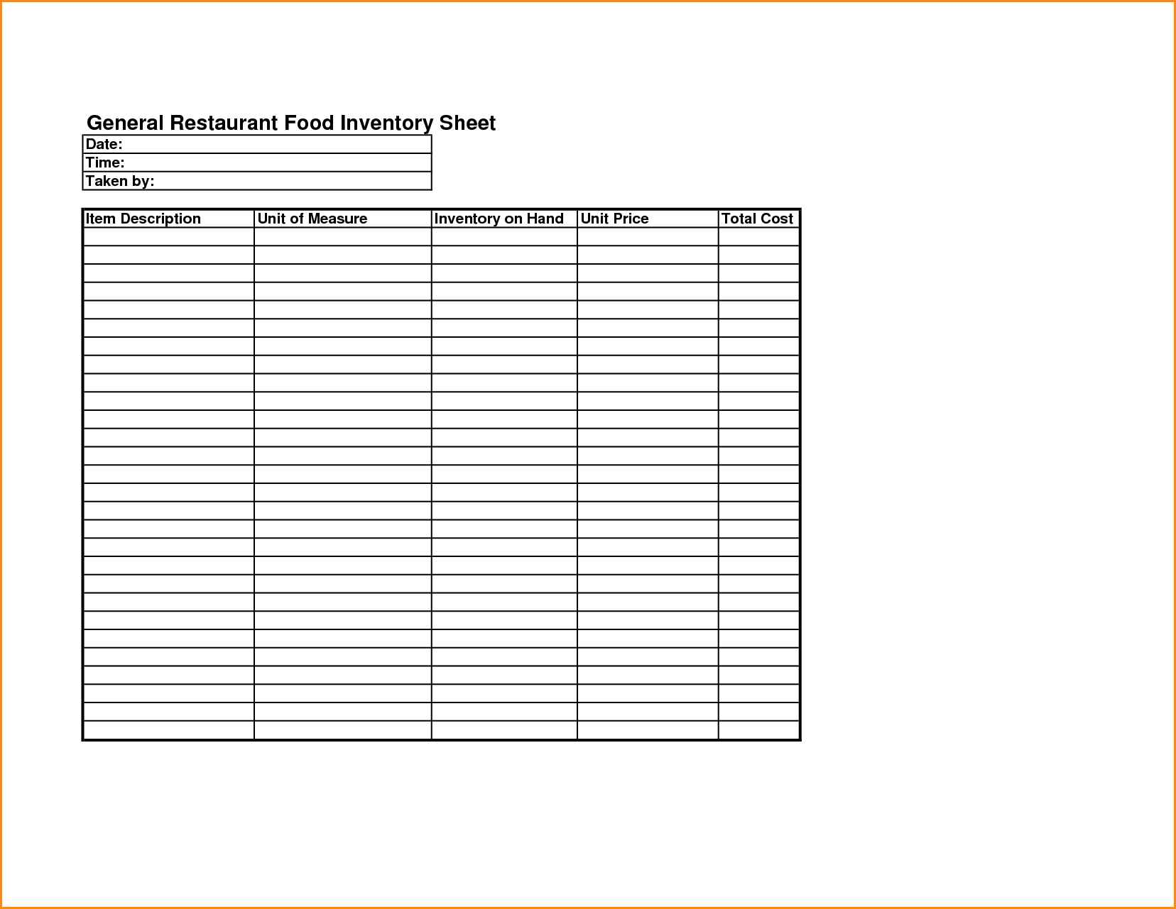 restaurant inventory spreadsheet xls