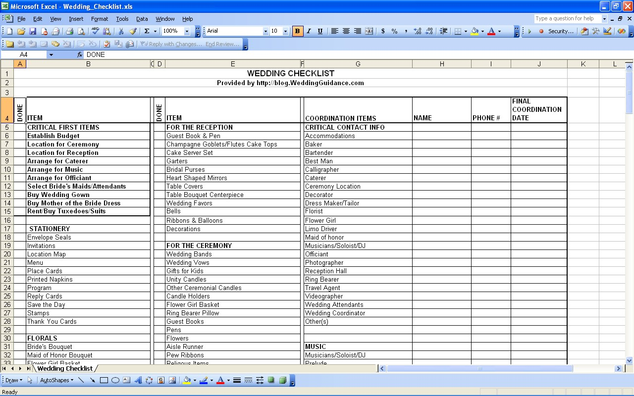 sample download wedding expenses list spreadsheet