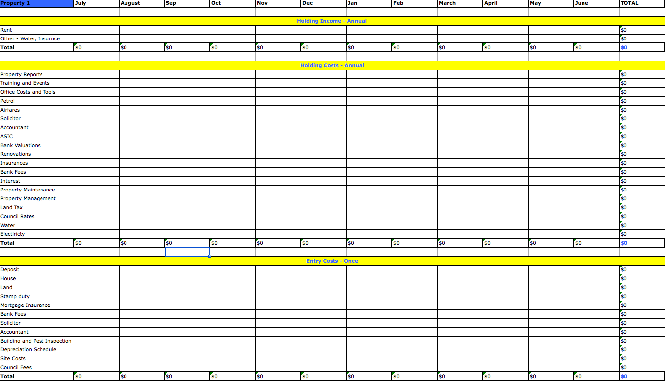 set up excel spreadsheet template