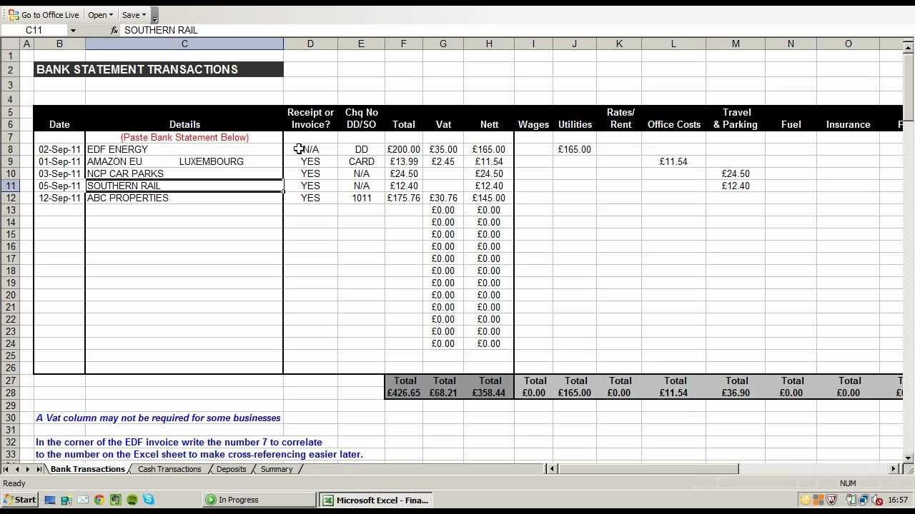 small business spreadsheet for income and expenses Template