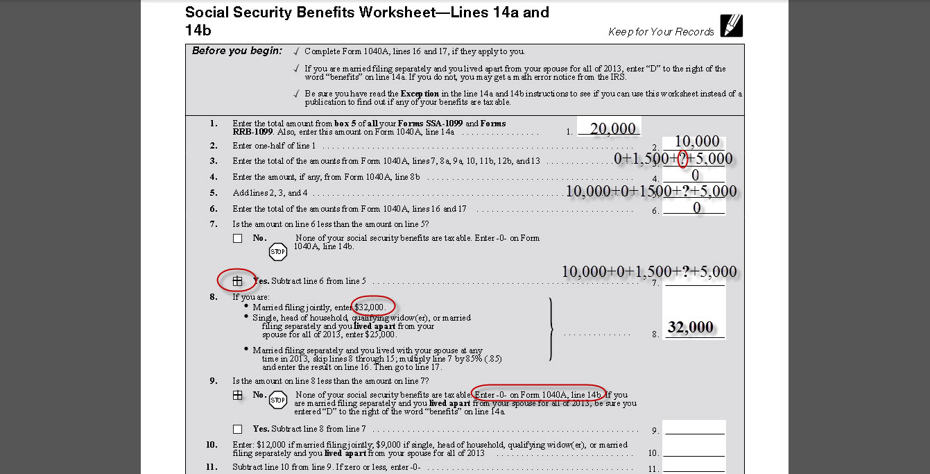 social security benefits tax worksheet calculator