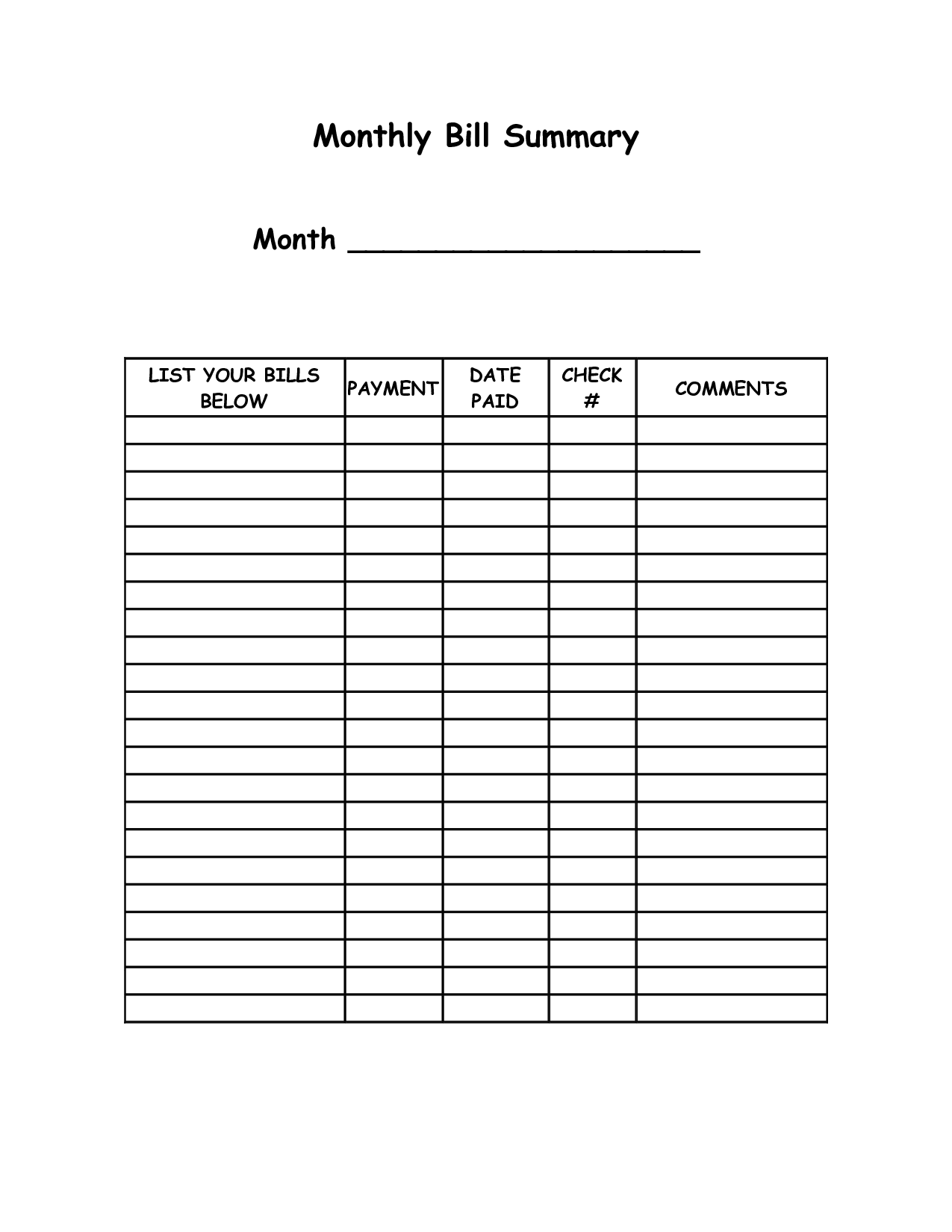 spreadsheet for monthly bills free templates