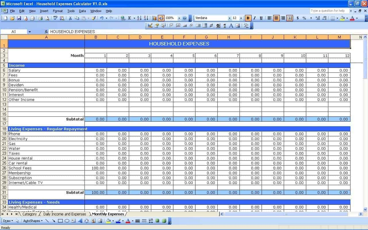 start up business budget template